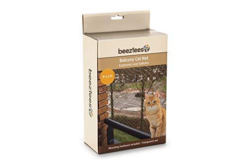 Katzenschutznetz für Balkone 8 x 3 m,  Schutznetz für Katzen komplett, Transparent, Maschengröße 3 x 3 cm durchsichtiges Balkonnetz inkl. Befestigungsmaterial