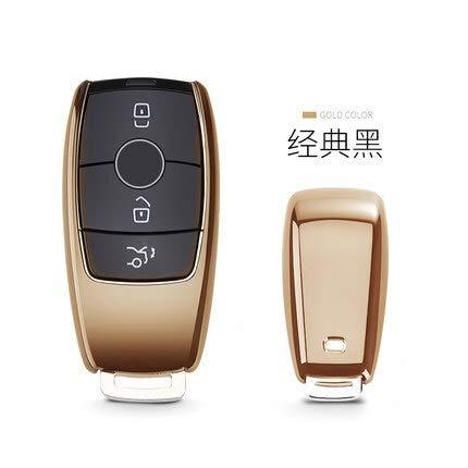 Hyzb TPU alejado del Coche Titular de la Clave Caso de Shell for Mercedes Benz Clase E W213 E200 E260 E300 E320 Cubierta Protectora dominante Fob (Color : Gold)