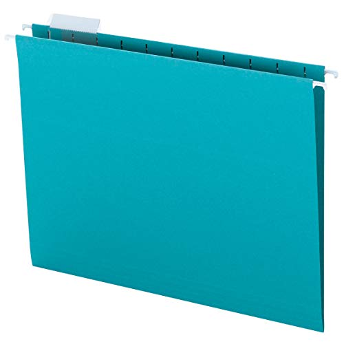 Smead Colored Hanging File Folder with Tab, 1/5-Cut Adjustable Tab, Letter Size, Teal, 25 per Box (64074)