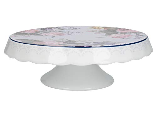 Katie Alice Wild Apricity - Soporte para tartas (porcelana, 25 x 9,5 cm), color blanco y gris