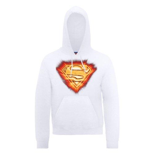DC Comic DC0000226 Official Superman Blast Logo Sweat-Shirt à Capuche, Blanc, L Homme