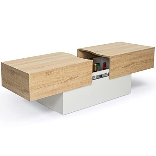IDMarket - Table Basse Bar coulissante Marta Bois Blanc et Imitation hêtre