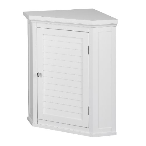 Elegant Home Fashions Glancy Bathroom Corner Wall Cabinet, White