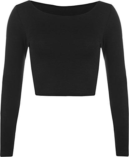 WearAll - Mujeres Manga Larga Llanura Recortar la Camiseta Corta Cuello Redondo Top - Negro - 36-38