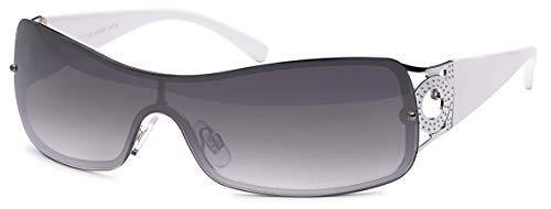 rahmenlose Sonnenbrille mit Monoscheibe + Brillenbeutel - Sonnenbrille mit durchgehender Scheibe (weiss)
