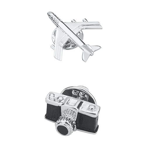 2 Stück Unisex Brosche Kostüm Pins mit Kamera Flugzeug Muster Anstecknadeln