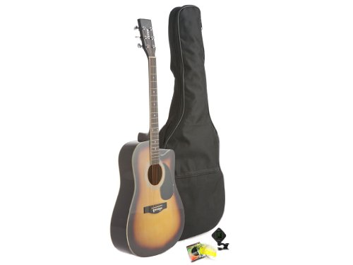 Fever Dreadnought Cutaway Acoustic Guitar Sunburst with Bag, Tuner and Strings, FV-700C-SB