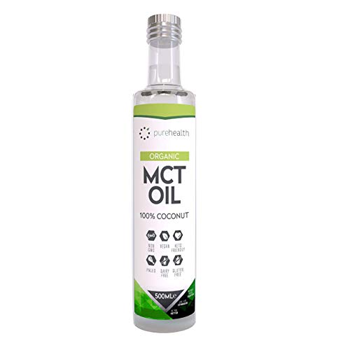 Pure Health, 100% Kokosnuss-MCT-Öl Glasflasche (500ml Bio C8/C10)