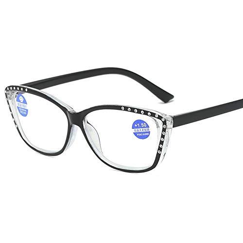 Yangjing-hl TR90 Gafas de Lectura Mujeres Hombres Retro Anti Blue LightWomen Transparente Azul Light Blocking Computer Anteojos Presbyopia
