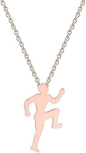 Yiffshunl Collar de Moda para Mujer, Baile, Ballet, Fitness, Patinaje en ángulo, joyería de Acero Inoxidable, Figura, Collar de Yoga, Regalo