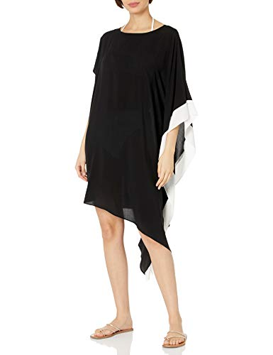 DKNY Women's Standard T Shirt Dress Cover Up, Black Kaftan, L/XL