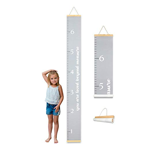 Morxy Canvas Growth Chart for Kids - Unisex Kids Room Wall Decor - Gray Wall Tape with Height Chart for Kids