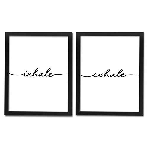 Framed Inhale Exhale Art Print Set Of 2 (10X8)-Ready To Hang, Meditation Art Print,