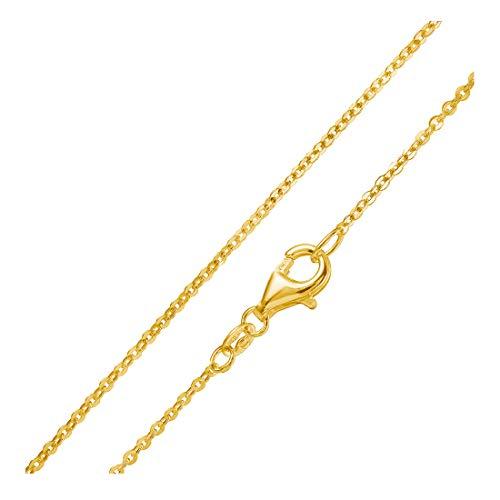 MATERIA Gold Ankerkette 925 Sterling Silber 1mm Halskette vergoldet in 40-80cm verfügbar #K61, Länge Halskette:60 cm