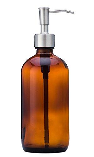 Jarmazing Products Seifen- und Lotionspender aus bernsteinfarbenem Glas, mit Edelstahlpumpe, 473 ml