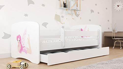 White Toddler Bed with Safety Rail Included 70x140 80x160 80x180 cm Kids Bed with Fall Protection, Removable Drawer, Slatted Base - for Boys and Girls - Fairy with Wings - 160x80 - Without Mattress
