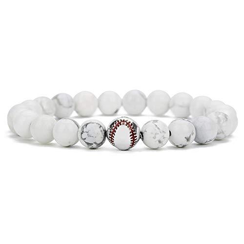 YUDUODUO - Pulsera elástica de cuentas de béisbol de cobre, color blanco