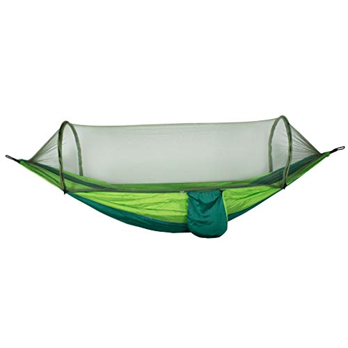 WYH Hamaca de camping para muebles de camping, con red y mosquetones portátiles para patio trasero, columpio de playa al aire libre (color verde1)