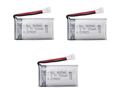 YUNIQUE ITALIA 3 Pezzi Batteria Lipo Ricaricabile 3.7v, 720mAh Rc Droni Quadricotteri Syma X5 X5C X5SC X5SW, Cheerson CX-30W, Skytech M68, Wltoys F949