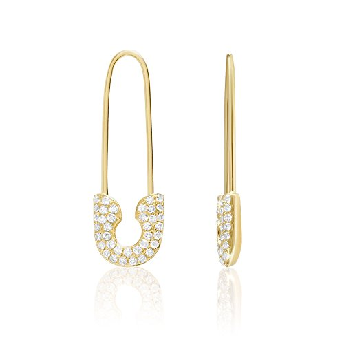 14K Yellow Gold and Diamonds Safety Pin Threader Fashion Earrings, Full Pair