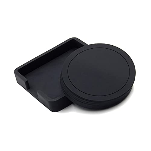 Sottobicchiere, in silicone, con vassoio rotondo per tazze da caffè e birra, set da 6 pezzi, colore: nero