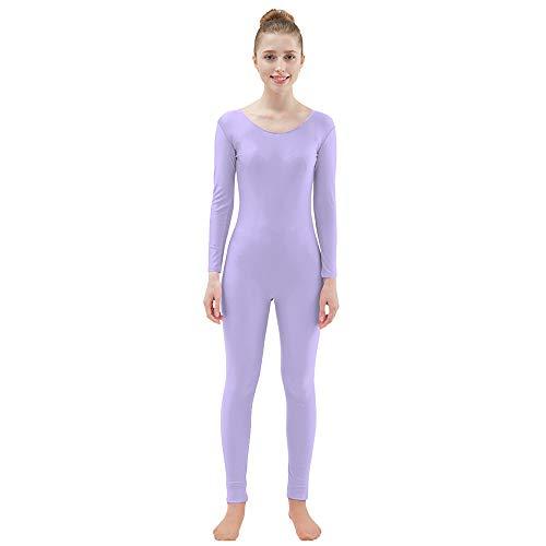 Ensnovo Womens Spandex Bodysuit Long Sleeve Scoop Neckline Footless Unitard LightPurple, XXL