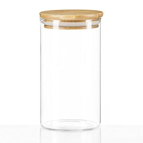 Dimono voorraadpot van borosilicaatglas voorraadpot glazen pot weckglas met bamboe deksel