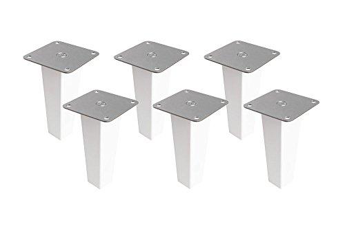 6 x Möbelfüße aus Holz für Kallax Regal/Möbelbeine Regalfuß Möbelfuß/massive Buche (weiß lackiert) wasserabweisend/inkl. Montageplatte Montagematerial Anleitung/Höhe 16 cm/Pyramid