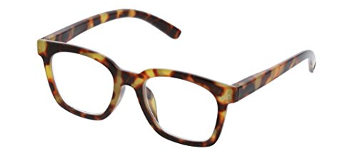 Peepers by PeeperSpecs Women's to The Max Square Reading Glasses, Tortoise-Focus Blue Light Filtering Lenses, 50 mm + 1