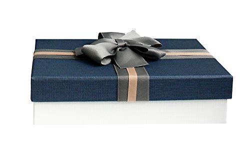 Emartbuy Rígido Lujo Caja de Regalo de Presentación,en Forma de Rectángulo 33.5 cm * 25 cm * 11.5 cm, Caja de Crema Con Tapa Azul, Interior Marrón Chocolate y Cinta Decorativa Con Lazo Rayas