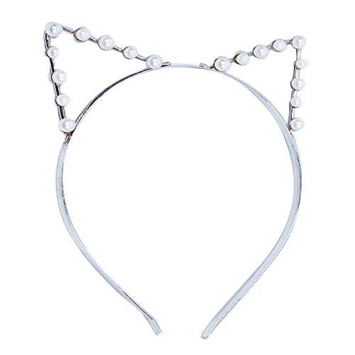 Oyfel Serre-Tête Bandeau Cheveux Forme de Chat Oreilles avec Les Perles Hairband pour Enfant Bébé Filles Femmes Fête Accessoires De d'anniversaire des Jeux de Rôle 1 Pcs