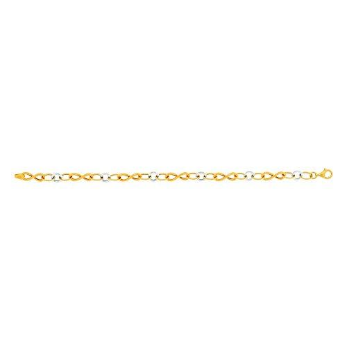 14ct Gelb Weiß Gold glänzend Figur Nr. 8rund oval bicolor Armband Birnenform-Verschluss–20Cent