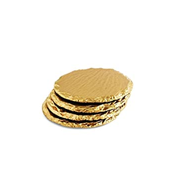 Renee Redesigns Round Hand Painted Gold Slate Drink Coasters, Gift Set of 4, Protects Table Surfaces, For Hot & Cold Beverages and Candles, Round - 4 x 4 inches