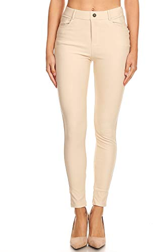 Women's Super Stretchy Skinny Denim Jean Jegging Pants with Pocket (2X-Plus, Khaki)
