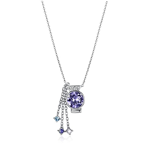 Yandm Sterling Silver Aquarius Crystal Pendant Necklace for Women Girlfriend Gift