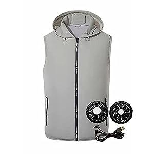 [カイヤス]空調服 メンズ レディース ベスト ファン バッテリー セット ブラシレスモータ 大きいサイズ M-4XL 春夏秋服 軽量 通気 フード付き(L グレー)