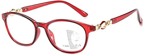 Gafas de Lectura Elegantes, Lentes Progresivas Multifocales HD, Gafas de Lectura Ultraligeras Y Cómodas para Hombre Y Mujer, Doble Propósito Lejos Y Cerca Dioptrías de +1,00 A +3,00 Red,+2.50
