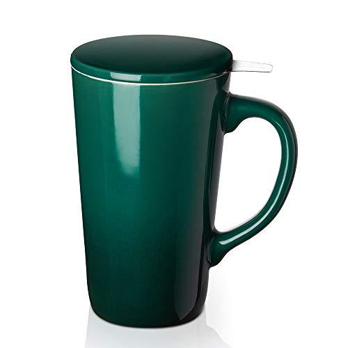 DOWAN Tea Cups with Infuser and Lid, 17 Ounces Large Tea infuser Mug, Tea Strainer Cup with Tea Bag Holder for Loose Tea, Ceramic Tea Steeping Mug, Dark Green Color Changing