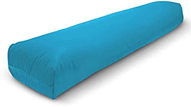 Bean Products Yoga Bolster - Handcrafted in The USA with Eco Friendly Materials - Studio Grade Support Cushion That Elevates Your Practice & Lasts Longer - Pranayama, Cotton Aqua