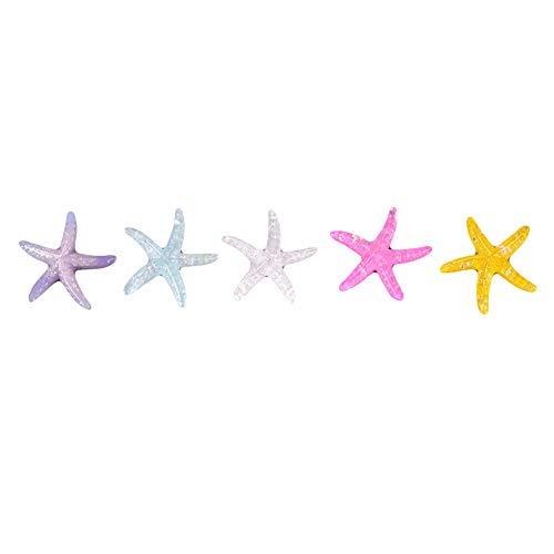 Livecitys 5Pcs Bunte Seestern-Muschel-Verzierung DIY Miniatur Ozean-Landschaftsdekoration-Mini-Figuren Für Garten-Sukkulenten Pflanze Bonsai Zufällige Farbe Seestern#