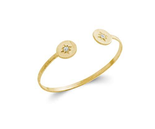 Tata Gisèle - Pulsera rígida chapada en oro de 18 quilates, diseño redondo estriado con estrella engastada de óxido de circonio, bolsita de terciopelo de regalo