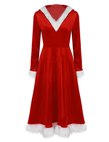 iiniim Mrs. Santa Claus Costume Women Hooded Long Dress Christmas Outfit for Cosplay Xmas Party Red Medium