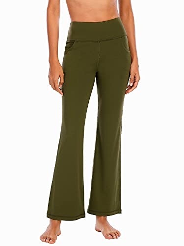 DQAW Yoga-Hosen Für Damen, Gym Sport Workout Pants Women, Hohe Taille Schlaghose Damen, Sporthose mit Versteckten Taschen