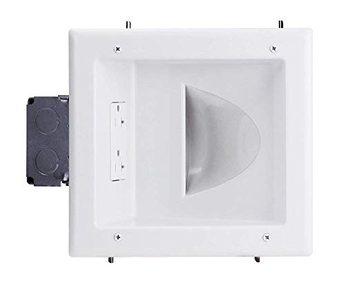 DataComm Electronics 45-0032-WH Commercial Grade Recessed AV/HDMI Cable Conceal Plate with 20 Amp Dual Power Receptacle,White