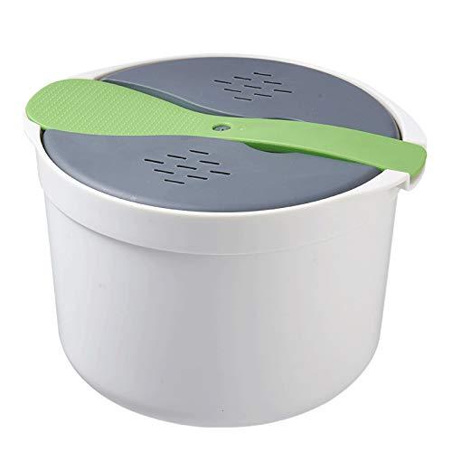Vaorwne 2L KüChe Mikrowelle Dampf Reiskocher Multifunktionale Doppelschicht HEI?E Suppe Kochen Heizung Dampfgarer Lunch Box-GrüN