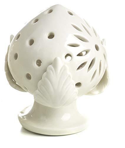Mandorle by Paben Bonboniere Pumo Airdisch, aus Porzellan, Weiß, perforiert, mit LED-Licht, 10 cm, mit Geschenkbox