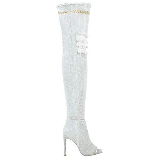 Minetom Mujer Otoño Invierno Moda Boots Tramo Sobre La Rodilla Peep Toe Tacón Alto Jeans Botas Zapatos Cielo Azul EU 36