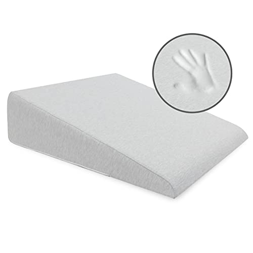 Milliard Bed Wedge Pillow with Memory Foam Top -Helps with Acid Reflux and Gerds, Reduce Neck and Back Pain, Snoring, and Respiratory Problems- Breathable and Washable Cover (7.5 Inch) (Cool Grey)