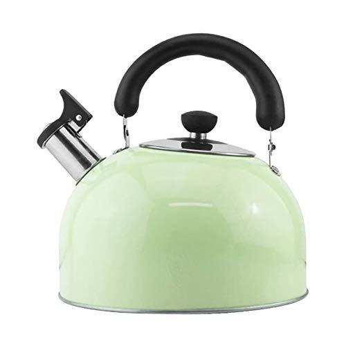 Hervidor para Silbato Silbido Caramelo de la Caldera de té de la Tetera de Acero Inoxidable Estufa de Gas Cocina de inducción Universal, Hervidor (Color : Green, Size : 4l)