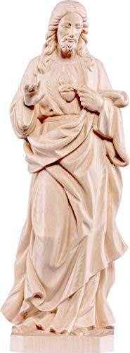 Ferrari & Arrighetti Imagen del Sagrado Corazón de Jesús en Talla de Madera con Acabado Natural Que Mide 17 cm - Demetz Deur